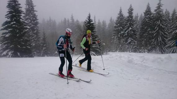 Dvaja lyžiari bežia zasneženou krajinou 8ac089b2ef1