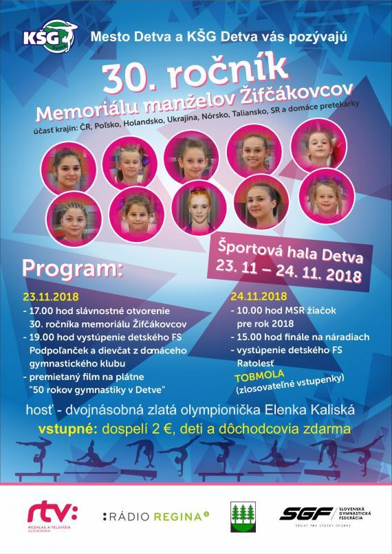 Plagát 30. ročník Memoriálu manželov Žifčákovcov s programom ako v texte f331c43c293